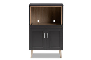 Baxton Studio Tobias Modern and Contemporary Dark Grey and Oak Brown Finished Kitchen Cabinet Image 7