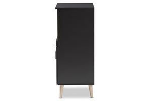 Baxton Studio Tobias Modern and Contemporary Dark Grey and Oak Brown Finished Kitchen Cabinet Image 8