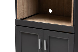 Baxton Studio Tobias Modern and Contemporary Dark Grey and Oak Brown Finished Kitchen Cabinet Image 9