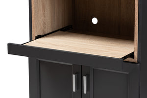 Baxton Studio Tobias Modern and Contemporary Dark Grey and Oak Brown Finished Kitchen Cabinet Image 10