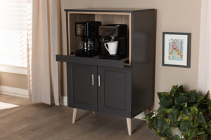 Baxton Studio Tobias Modern and Contemporary Dark Grey and Oak Brown Finished Kitchen Cabinet Image 3