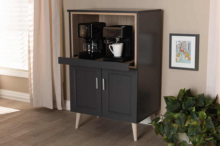 Baxton Studio Tobias Modern and Contemporary Dark Grey and Oak Brown Finished Kitchen Cabinet
