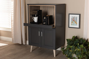 Baxton Studio Tobias Modern and Contemporary Dark Grey and Oak Brown Finished Kitchen Cabinet Image 4