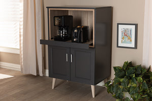 Baxton Studio Tobias Modern and Contemporary Dark Grey and Oak Brown Finished Kitchen Cabinet Image 12