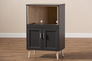 Baxton Studio Tobias Modern and Contemporary Dark Grey and Oak Brown Finished Kitchen Cabinet Image 13