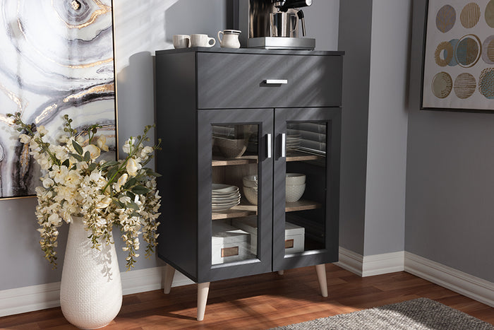 Baxton Studio Jonas Modern and Contemporary Dark Grey and Oak Brown Finished Kitchen Cabinet