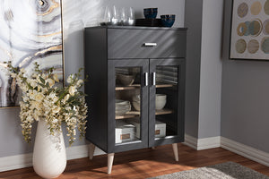Baxton Studio Jonas Modern and Contemporary Dark Grey and Oak Brown Finished Kitchen Cabinet Image 4