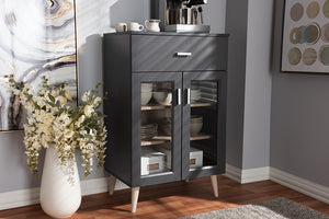 Baxton Studio Jonas Modern and Contemporary Dark Grey and Oak Brown Finished Kitchen Cabinet Image 12