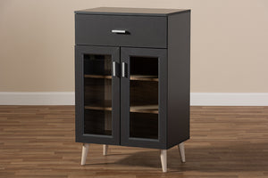 Baxton Studio Jonas Modern and Contemporary Dark Grey and Oak Brown Finished Kitchen Cabinet Image 13