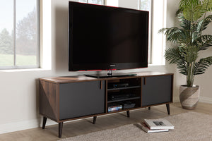 Baxton Studio Samuel Mid-Century Modern Brown and Dark Grey Finished TV Stand Image 3