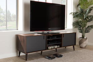Baxton Studio Samuel Mid-Century Modern Brown and Dark Grey Finished TV Stand Image 4