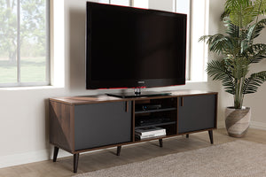Baxton Studio Samuel Mid-Century Modern Brown and Dark Grey Finished TV Stand Image 11
