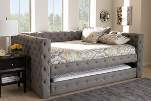 Baxton Studio Anabella Modern and Contemporary Grey Fabric Upholstered Queen Size Daybed with Trundle Image 3