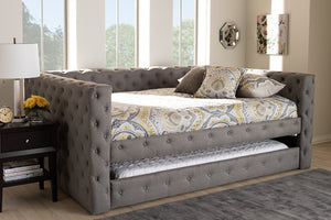 Baxton Studio Anabella Modern and Contemporary Grey Fabric Upholstered Queen Size Daybed with Trundle Image 4