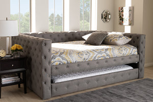Baxton Studio Anabella Modern and Contemporary Grey Fabric Upholstered Full Size Daybed with Trundle-Daybeds-HipBeds.com