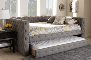 Baxton Studio Anabella Modern and Contemporary Grey Fabric Upholstered Queen Size Daybed with Trundle Image 13