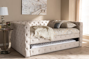 Baxton Studio Anabella Classic and Contemporary Light Beige Fabric Upholstered Full Size Daybed with Trundle Image 3