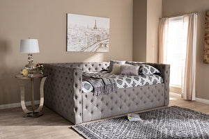Baxton Studio Anabella Modern and Contemporary Grey Fabric Upholstered Queen Size Daybed-Daybeds-HipBeds.com