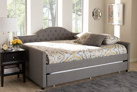 Baxton Studio Eliza Modern and Contemporary Grey Fabric Upholstered Full Size Daybed with Trundle-Daybeds-HipBeds.com