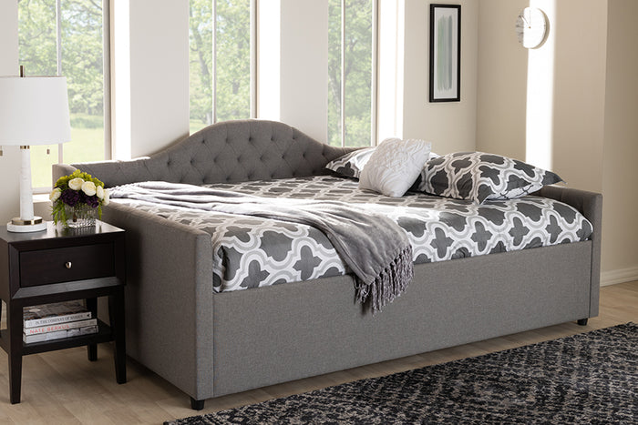 Baxton Studio Eliza Modern and Contemporary Grey Fabric Upholstered Full Size Daybed