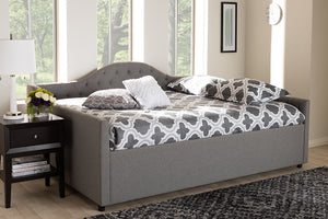 Baxton Studio Eliza Modern and Contemporary Grey Fabric Upholstered Full Size Daybed-Daybeds-HipBeds.com