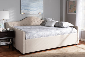 Baxton Studio Eliza Modern and Contemporary Light Beige Fabric Upholstered Queen Size Daybed Image 3