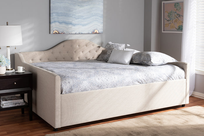 Baxton Studio Eliza Modern and Contemporary Light Beige Fabric Upholstered Full Size Daybed