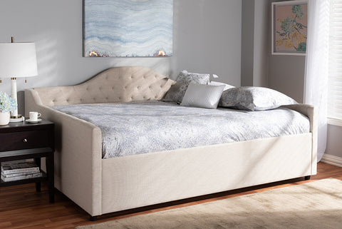Baxton Studio Eliza Modern and Contemporary Light Beige Fabric Upholstered Full Size Daybed Image 3