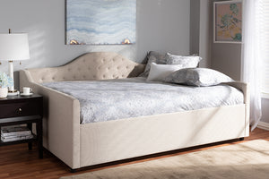 Baxton Studio Eliza Modern and Contemporary Light Beige Fabric Upholstered Full Size Daybed Image 4