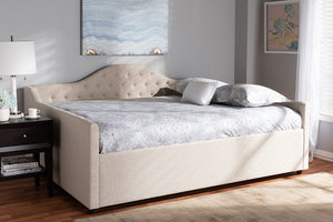 Baxton Studio Eliza Modern and Contemporary Light Beige Fabric Upholstered Full Size Daybed Image 9