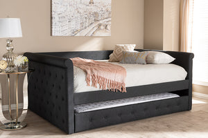 Baxton Studio Alena Modern and Contemporary Dark Grey Fabric Upholstered Full Size Daybed with Trundle Image 12