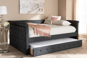Baxton Studio Alena Modern and Contemporary Dark Grey Fabric Upholstered Full Size Daybed with Trundle Image 13