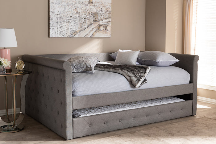 Baxton Studio Alena Modern and Contemporary Grey Fabric Upholstered Full Size Daybed with Trundle