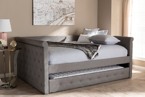 Baxton Studio Alena Modern and Contemporary Grey Fabric Upholstered Full Size Daybed with Trundle Image 4