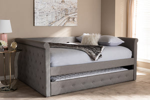 Baxton Studio Alena Modern and Contemporary Grey Fabric Upholstered Full Size Daybed with Trundle Image 12