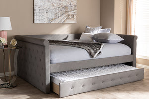 Baxton Studio Alena Modern and Contemporary Grey Fabric Upholstered Full Size Daybed with Trundle Image 13