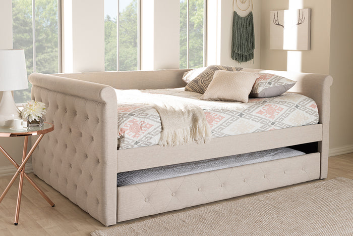 Baxton Studio Alena Modern and Contemporary Light Beige Fabric Upholstered Full Size Daybed with Trundle