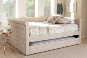 Baxton Studio Alena Modern and Contemporary Light Beige Fabric Upholstered Queen Size Daybed with Trundle Image 4