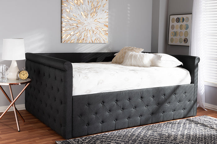 Baxton Studio Amaya Modern and Contemporary Dark Grey Fabric Upholstered Full Size Daybed