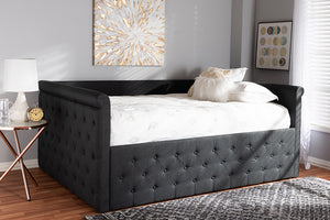 Baxton Studio Amaya Modern and Contemporary Dark Grey Fabric Upholstered Queen Size Daybed Image 4