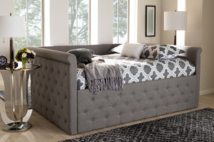 Baxton Studio Amaya Modern and Contemporary Grey Fabric Upholstered Full Size Daybed Image 3