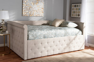 Baxton Studio Amaya Modern and Contemporary Light Beige Fabric Upholstered Queen Size Daybed-Daybeds-HipBeds.com
