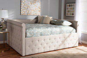 Baxton Studio Amaya Modern and Contemporary Light Beige Fabric Upholstered Full Size Daybed-Daybeds-HipBeds.com