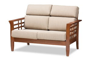 Baxton Studio Larissa Modern Classic Mission Style Cherry Finished Brown Wood and Dark Beige Fabric High Back Cushioned Living Room 2-Seater Loveseat-Sofas & Loveseats-HipBeds.com