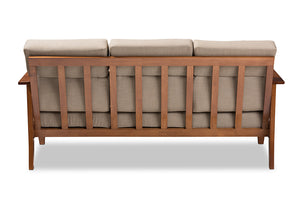 Baxton Studio Larissa Modern Classic Mission Style Cherry Finished Brown Wood and Dark Beige Fabric High Back Cushioned Living Room 3-Seater Sofa-Sofas & Loveseats-HipBeds.com