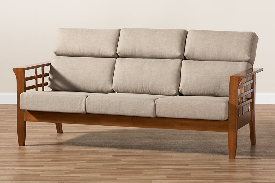 Baxton Studio Larissa Modern Classic Mission Style Cherry Finished Brown  Wood and Dark Beige Fabric High Back Cushioned Living Room 3-Seater Sofa