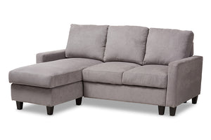 Baxton Studio Greyson Modern And Contemporary Light Grey Fabric Upholstered Reversible Sectional Sofa Image 4