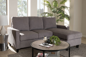 Baxton Studio Greyson Modern And Contemporary Light Grey Fabric Upholstered Reversible Sectional Sofa Image 5