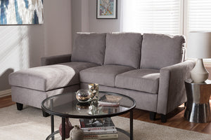 Baxton Studio Greyson Modern And Contemporary Light Grey Fabric Upholstered Reversible Sectional Sofa Image 6