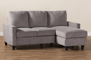 Baxton Studio Greyson Modern And Contemporary Light Grey Fabric Upholstered Reversible Sectional Sofa Image 8